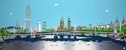 Thames Landmarks by Dylan Izaak -  sized 79x32 inches. Available from Whitewall Galleries